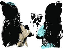 The Style Of Banksy, Cup Of Coffee, Holidays, Vector Graphic.
