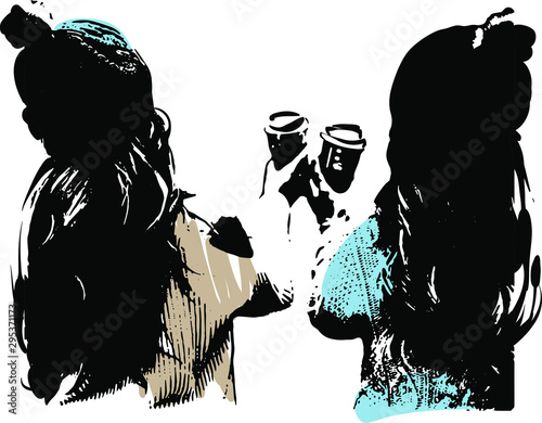 Fotomural The style of Banksy, Cup of coffee, holidays, vector graphic.