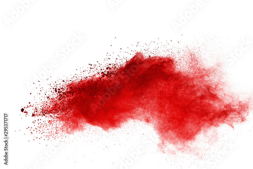 Fotografía  Red powder explosion on white background