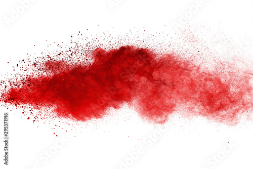 Red powder explosion on white background. Colored cloud. Colorful dust explode. Paint Holi. - 295371916