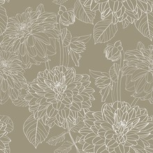 Dahlia. Seamless Pattern Of Ol...