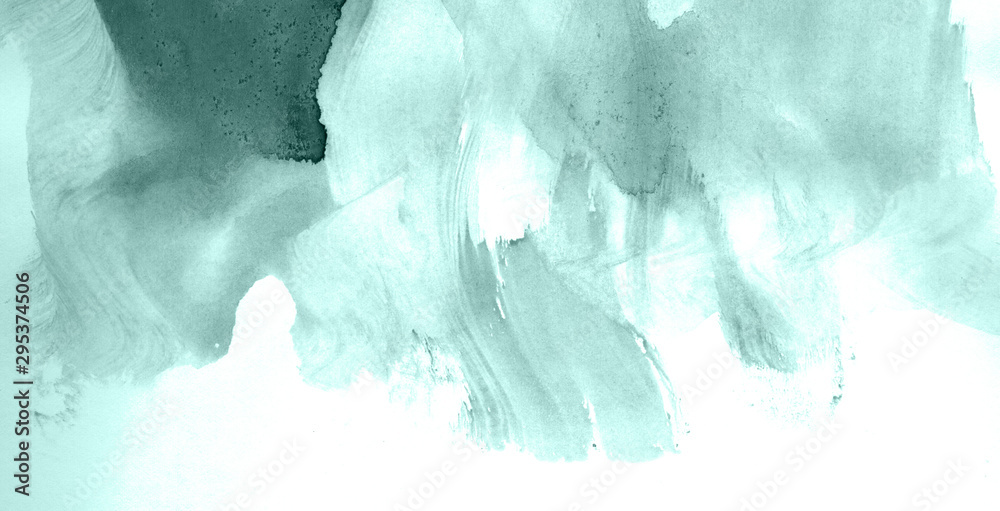 Fototapeta Abstract watercolor background hand-drawn on paper. Volumetric smoke elements. Blue-Green color. For design, web, card, text, decoration, surfaces.