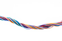 Colorful Electrical Cable Wire Isolated On White Background