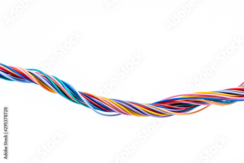 Fotografía Colorful electrical cable wire isolated on white background