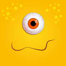 Funny Halloween Greeting Card Monster Orange Eyes. Vector Isolated Illustration On Yellow Background