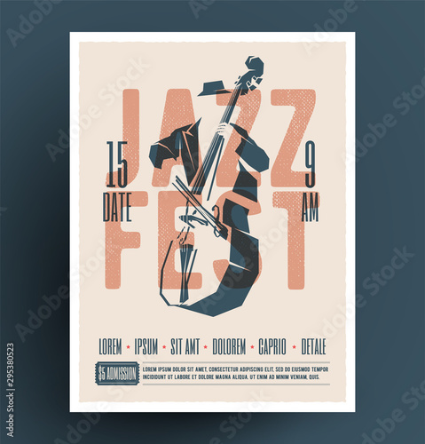 Jazz music festival or party or live music event flyer or advertising promo poster design template with jazz double bass player and jazz fest caption Wallpaper Mural