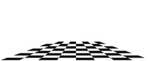 Chess Board. Black And White Square Tiles In Perspective.