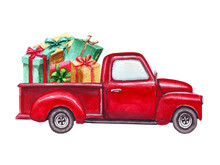 Watercolor Red Christmas Truck With Gift Boxes, Isolated On White Background. Hand Painted Abstract Retro Car And Christmas Presents. Decorative Elements, Symbols Of Winter Holidays For Cards.