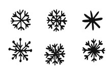 Set Of Snowflakes, Winter Holiday Decoration. Vector Sketch