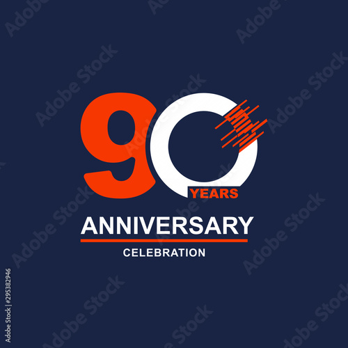 90 Year Anniversary Vector Template Design Illustration Wallpaper Mural