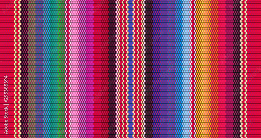 Fototapeta Blanket stripes seamless vector pattern. Background for Cinco de Mayo party decor or ethnic mexican fabric pattern with colorful stripes. Serape design