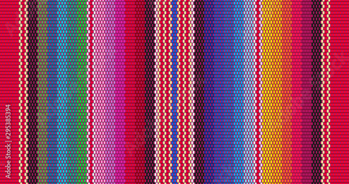 Obraz Blanket stripes seamless vector pattern. Background for Cinco de Mayo party decor or ethnic mexican fabric pattern with colorful stripes. Serape design - fototapety do salonu