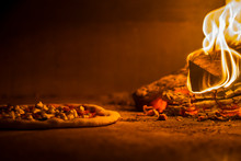 Pizza On Wood Burning Fire Oven
