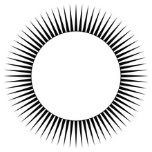 Round Abstract Decor Or Frame. Sun With Rays. Shining Halo. Black And White Silhouette.