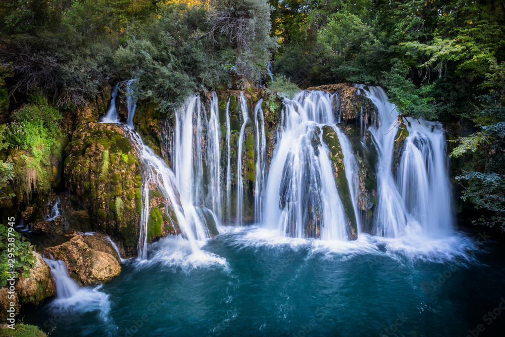 waterfall on Una river in village Martin Brod in Bosnia and Herzegovina