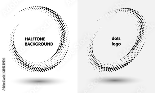 Fotomural  Halftone round as icon or background