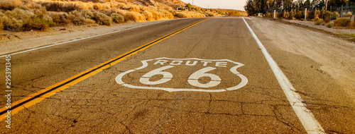 Foto auf AluDibond Route 66 Historic Route 66 with pavement sign in California, USA