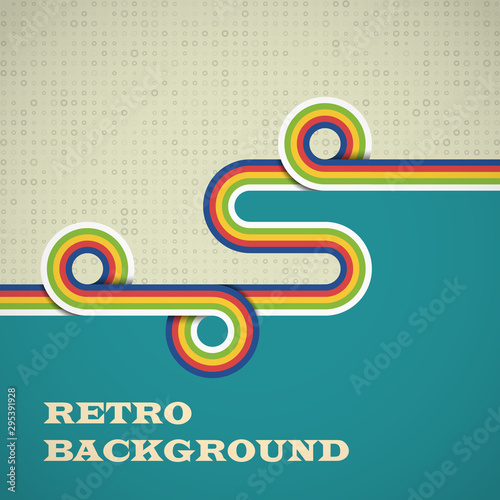 Retro background with rounded strips in bright color Wallpaper Mural