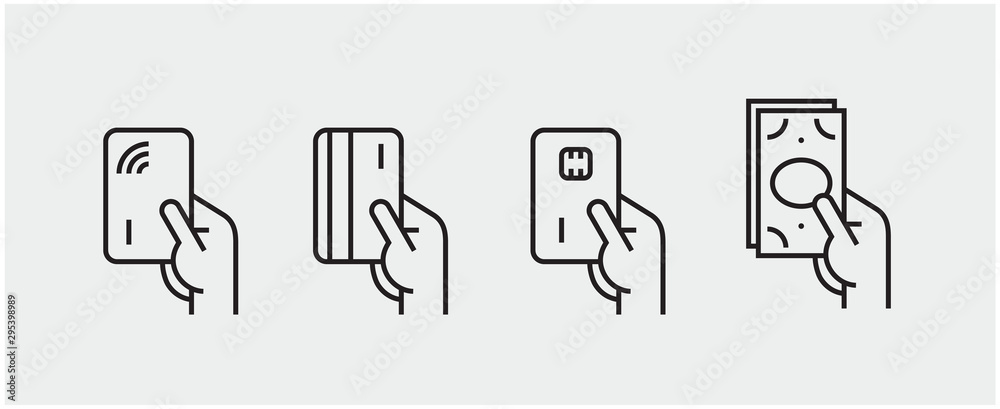 Fototapeta Set of payment options vector elements in flat style. Credit card processing, hand holding debit-credit card, cash and receipt.