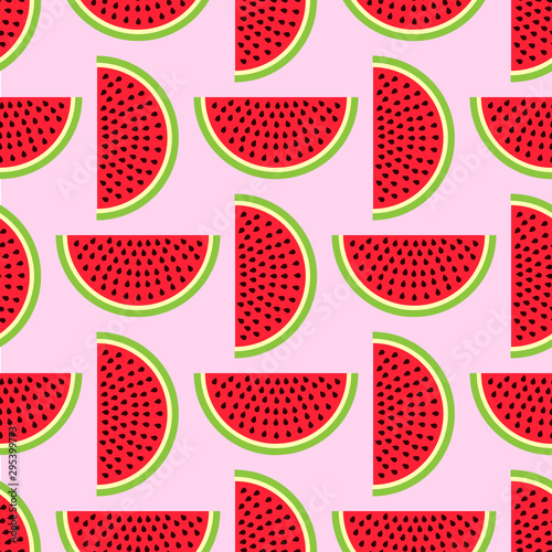 fototapeta na szkło Watermelon seamless pattern in modern flat style for wrapping paper, wallpaper, textile and other items. Vector illustration. EPS10.