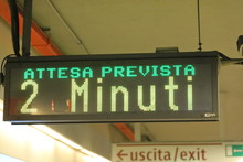 Metro Subway Station Information Displays Next Rain Is Due To Arrive In 2 Minutes In Rome Italy