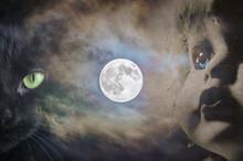 Full Moon Black Cat And Child'...