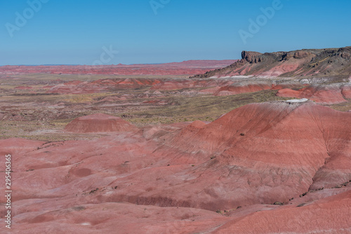 Petrified Forest National Park landscape of the painted hills of pink, red and orange