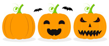 Pumpkin Lantern Icons, Halloween Symbols, Flat Design Template, Spooky Smile, Vector Illustration