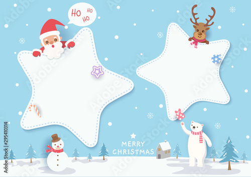 Merry Christmas with star frame, santa claus and reindeer on snowy background.