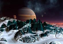 3D Rendered Fantasy Alien Land...