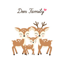 Cartoon Deer Family. Mother Father And Baby.
