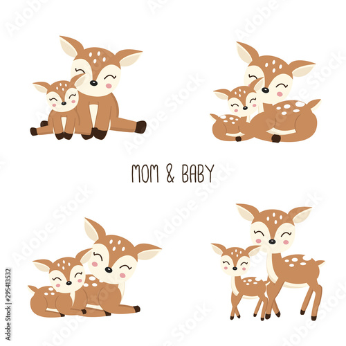 Cute Cartoon Deer family. Mother and baby. Poster Mural XXL