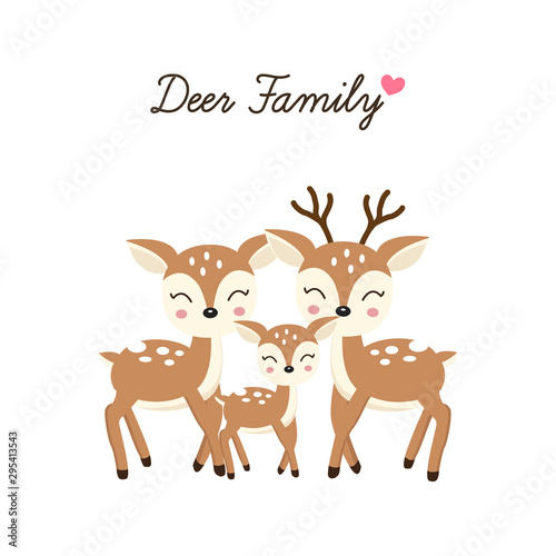Cartoon Deer family. Mother Father and baby. Poster Mural XXL