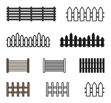 Fence Icon Set Vector Illustra...