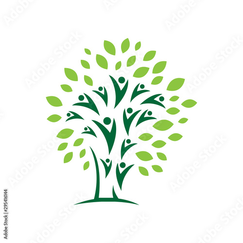 Fototapeta Nature Eco Community Abstract People tree Logo design vector Icon Symbol Element