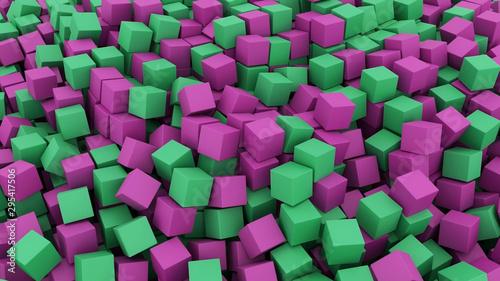 3D cube render green purple random