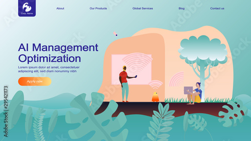 Creative website design template: artificial intelligence for project management, business communication, workflow Canvas-taulu