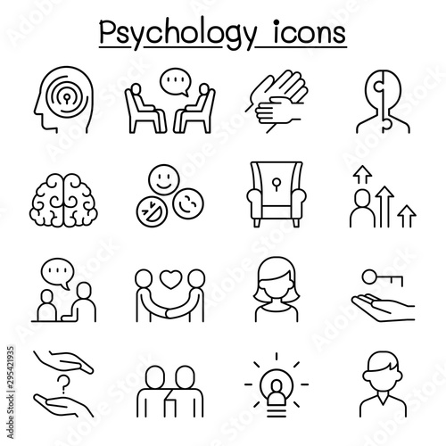 Obraz Psychology icon set in thin line style - fototapety do salonu
