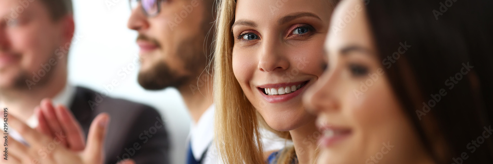 Fototapeta Group of people clap their arm in row during seminar portrait. Great news brief achievement win deal good job happy birthday employee introduce party positive welcome effective speech concept