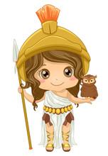 Kid Girl Athena Costume Illustration