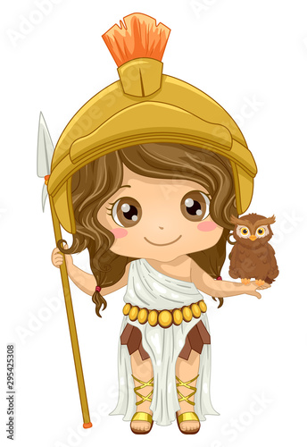 Photo Kid Girl Athena Costume Illustration