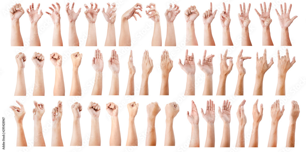 Fototapeta GROUP of Male asian hand gestures isolated over the white background.