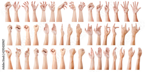 GROUP of Male asian hand gestures isolated over the white background Fototapete