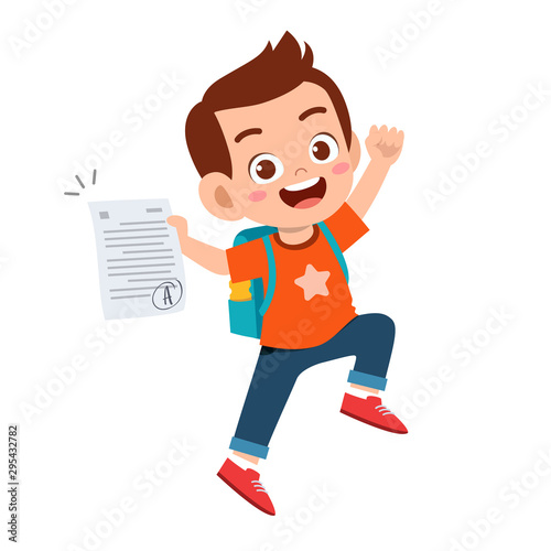 happy cute kid boy have good exam mark Fototapeta