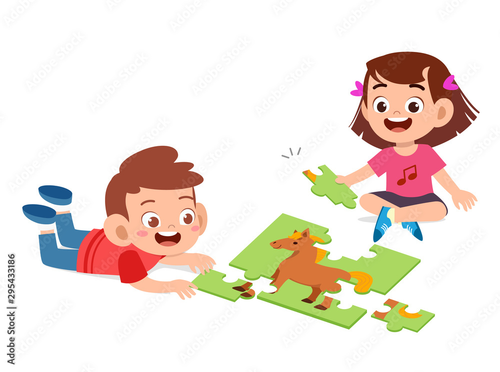 Fototapeta happy cute kids play solve puzzle together