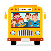 Happy Cute Kids Ride School Bus Together
