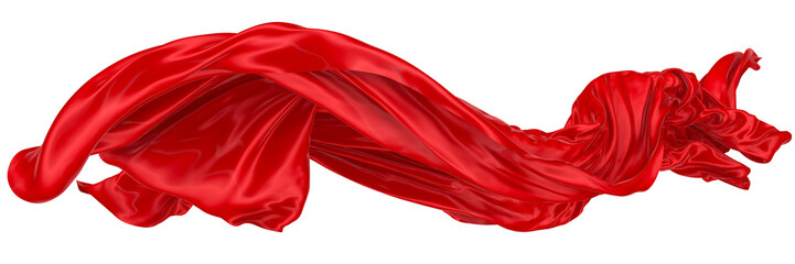 Abstract background of red wavy silk or satin. 3d rendering image.