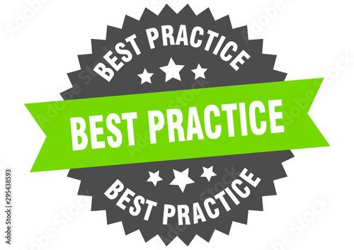 Pinturas sobre lienzo  best practice sign. best practice green-black circular band label