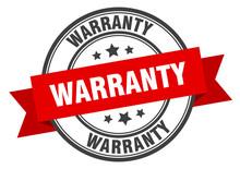 Warranty Label. Warranty Red Band Sign. Warranty