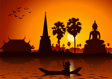 Sunset Landscape And Buddha Thai Temple With A Rowing Boat Around With Tree.countryside Of East Lifestyle.vector Illustration